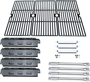 Direct Store Parts Kit DG158 Replacement for Charbroil 463420507,463420509,463460708,463460710 Gas Grill(SS Burner+SS Carry-Over Tubes+Porcelain Steel Heat Plate+Porcelain Cast Iron Cooking Grid)