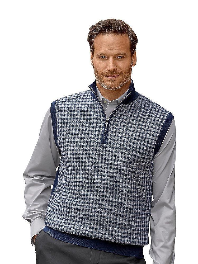 Paul Fredrick Men's Merino Wool Check Zip Neck Sweater Vest KFN200V000000