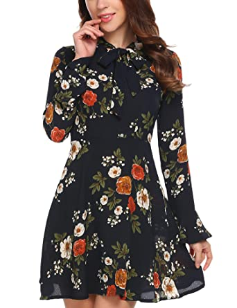 ACEVOG Women s Casual Floral Print Bell Sleeve Fit and Flare Dress ... 20bf448ad