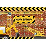 Funnytree 7X5FT Vinyl Construction Theme Birthday Party Backdrop Bricks Builder Dump Trucks Boy Banner Decorations Supplies Photography Background Photobooth props