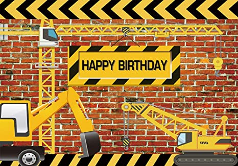 Funnytree 8x6ft Construction Theme Birthday Party Backdrop Bricks Builder Dump Trucks Boy Banner Decorations Supplies Photography