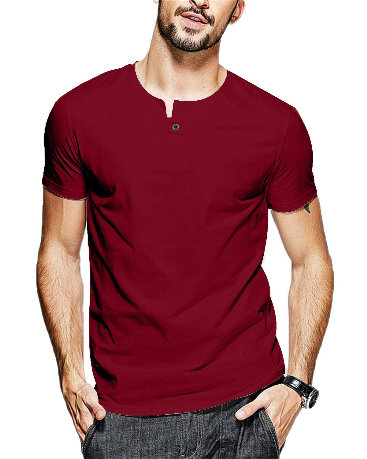 JNC 100% Cotton Mens Summer Casual Button Slim Fit Pure Color Short Sleeve Henley T-Shirts (Medium, Wine Red)