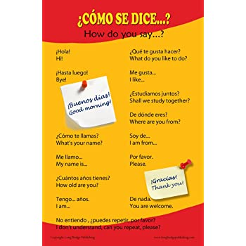 Amazon spanish language school poster common greetings and spanish language school poster common greetings and phrases wall chart for home and classroom m4hsunfo