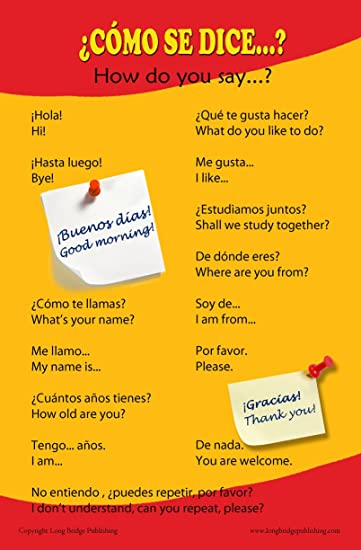Amazon spanish language school poster common greetings and spanish language school poster common greetings and phrases wall chart for home and classroom m4hsunfo Choice Image