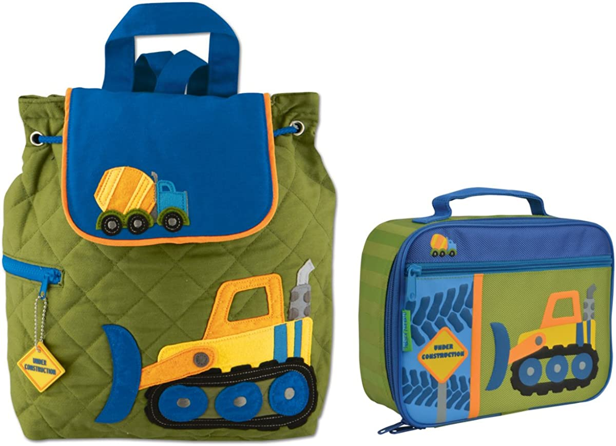 Stephen Joseph Boys Quilted Construction Backpack and Lunch Box for Kids