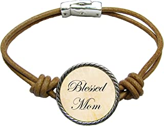 product image for SAS Blessed Mom Brown Leather Cord Bracelet Jewelry