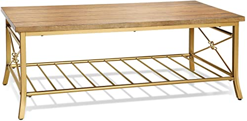LALUZ Coffee Table 2-Tier Modern Golden Rectangle Wood Furniture
