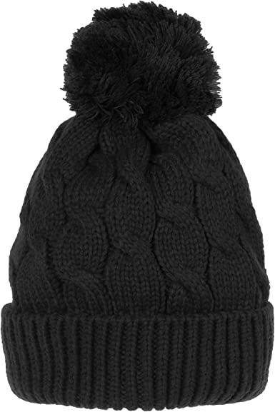 Warm Snowstar Slouch Soft Touch Acrylic Two Tone Bobble Pom Pom Ski Beanie Hat