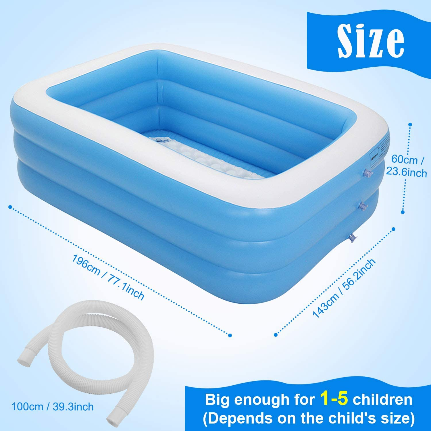 77 x 56inch Inflatable Kiddie Pools Family Outdoor Backyard Summer Water Play Swim Center for 1-4 Adults Kids Children Ages 3+ Minterest Swimming Pool