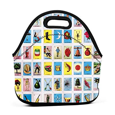 Neoprene Waterproof Portable Lunch Bag - Reusable Picnic Box Soft Insulated Food Tote With Zipper Outdoor Travel Bento Bags - La Muerte Loteria Card: Kitchen & Dining