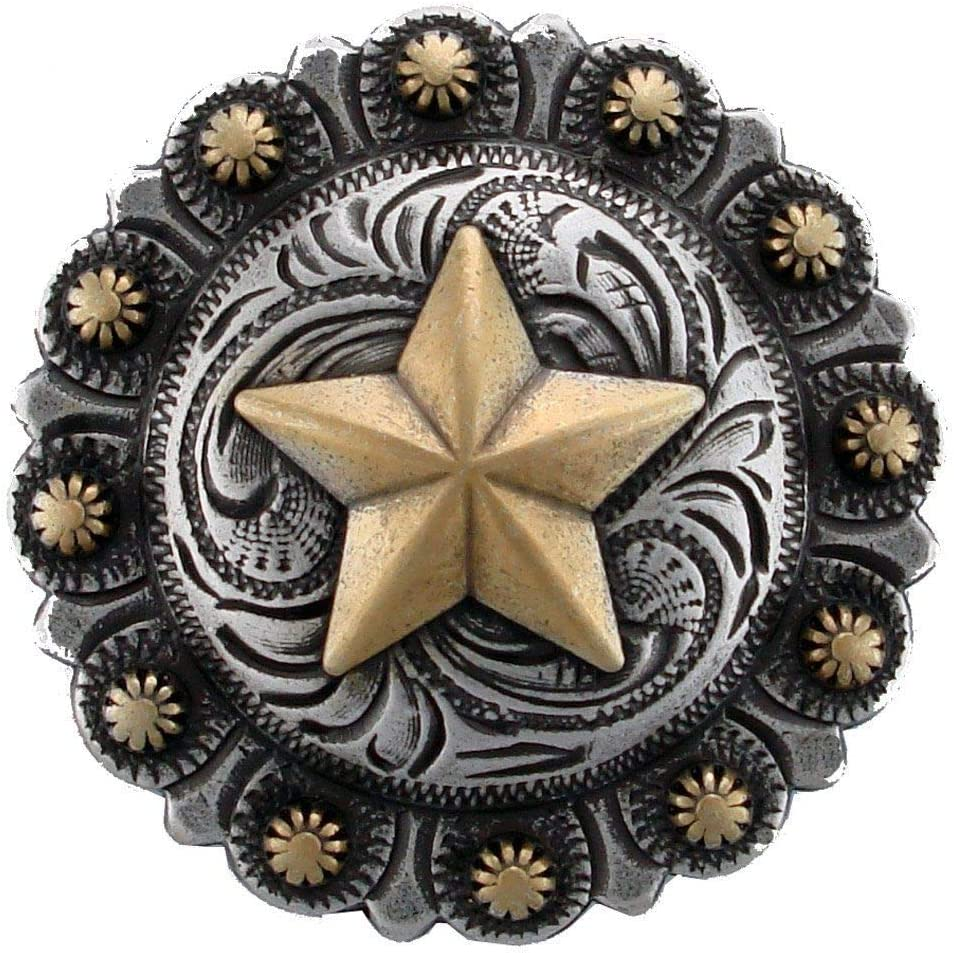 "WESTERN HORSE SADDLE TACK 1-3//4/"" ANTIQUE GOLD  STAR BERRY CONCHO SCREW BACK"