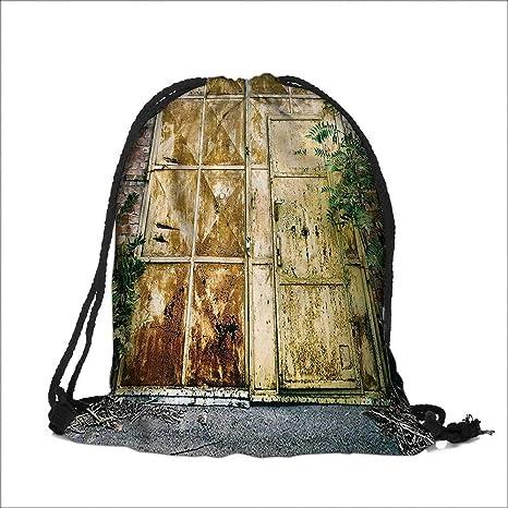 Amazon Pocket Drawstring Bag Rustic Brick House Still Door