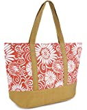 Womens Summer Floral Print Contrast Trim Beach-Pool-Swim-Tote-Shopping Large Bag