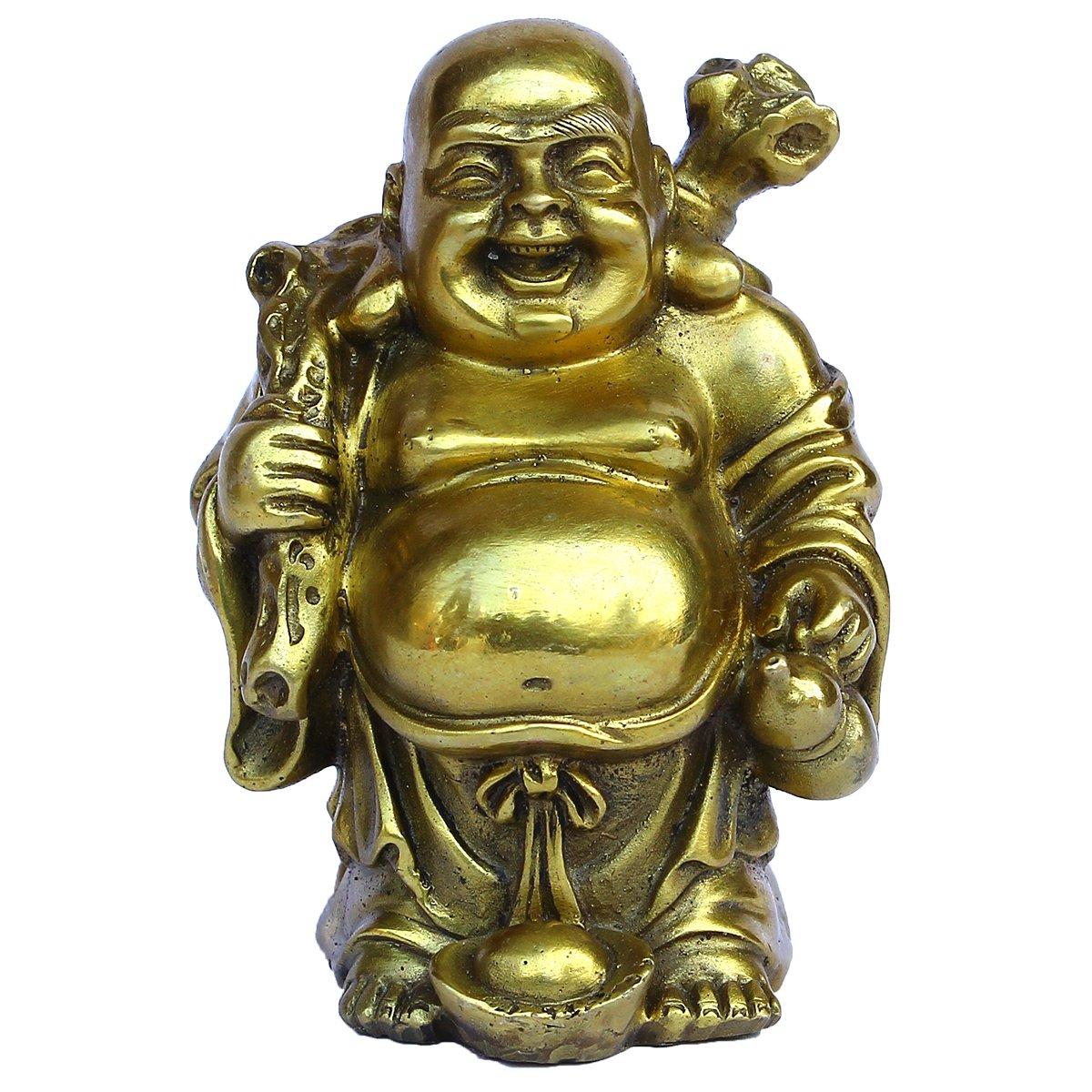 Golden Wealth Carry Lucky Bag Maitreya Buddha Happy Laughing Hotei Home Decor Housewarming Congratulatory Gift Brass Finish Collectible Figurines Statue