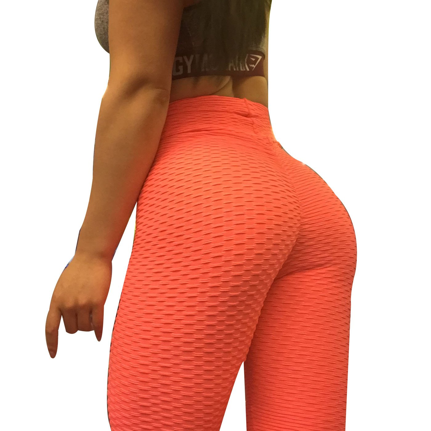 CPHMP Women's High Waist Ruched Butt Lifting Slimming Leggings Textured Stretchy Skinny Yoga Pants Thights (M, Orange)