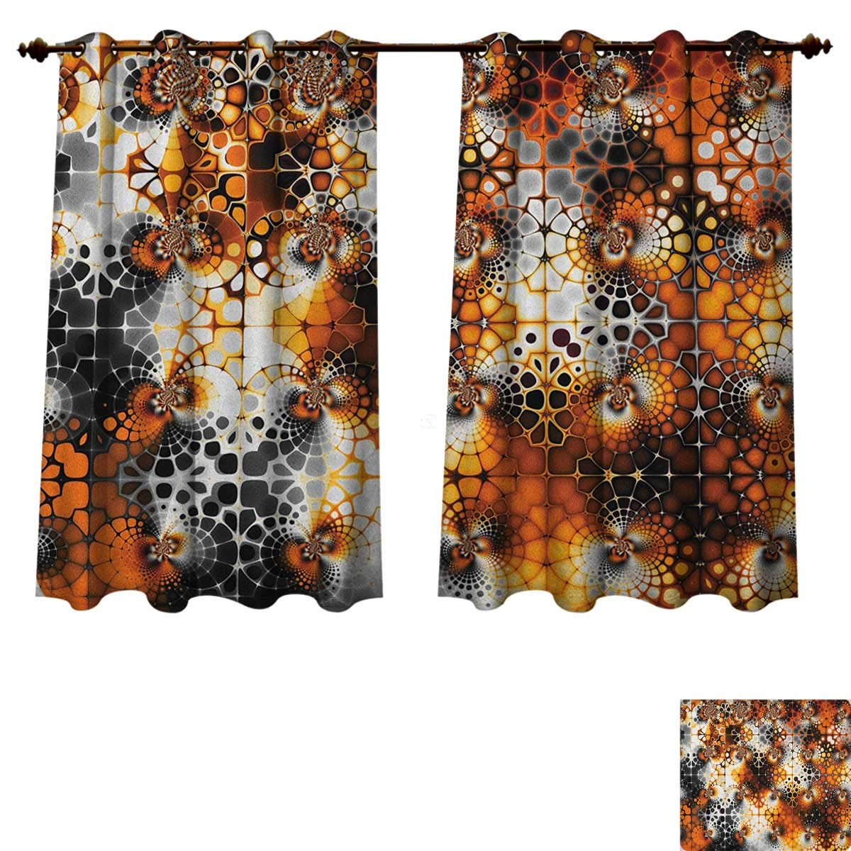 Burnt orange blackout thermal backed curtains for living room vintage mosaic pattern with burnt floral curve feature abstract graphic window curtain fabric