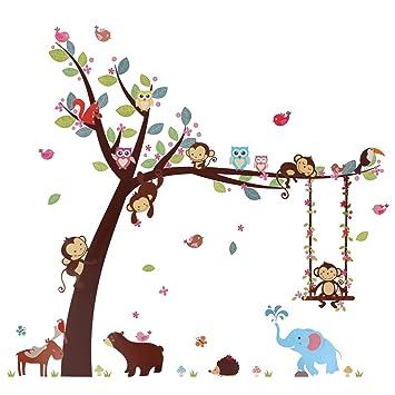 Kesoto Cartoon Forest Animal Monkey Wall Sticker Bear Owl Cheeky Monkey Swing Tree Diy Wall Sticker For Kids Room Decoration