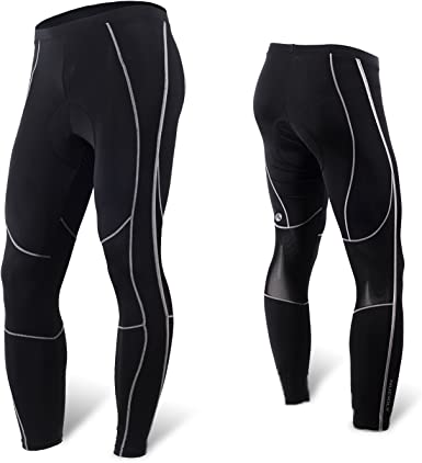 Mysenlan Mens Cycling 3D Padded Long Pants Bike Riding Tights Bicycle Compression Trousers