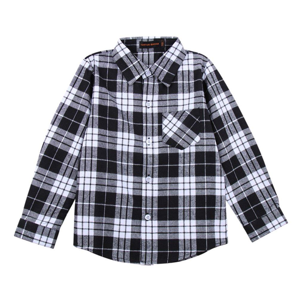 Tortor 1bacha Kid Girl Boy Long Sleeve Button Down Plaid Flannel Shirt E01-G