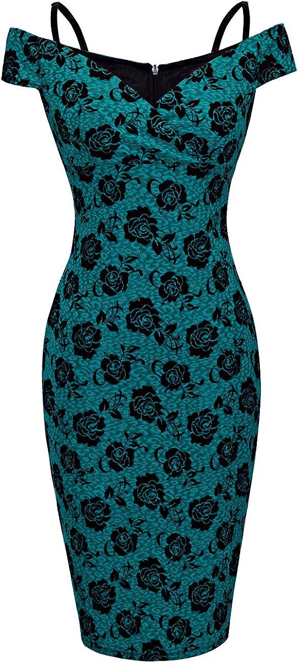1980s Clothing, Fashion | 80s Style Clothes HOMEYEE Womens Vintage Elegant Printed Floral V-Neck Sling Dress B309 $25.99 AT vintagedancer.com