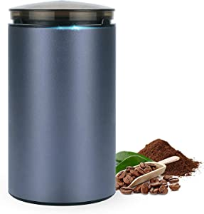 YEHOBU Coffee Grinder Electric, Small Blue Aluminum Coffee Bean Spice Grinder with Stainless Steel Blades/Coffee Mill For Spices, Food, Nuts, Herbs with Cleaning Brush Blue
