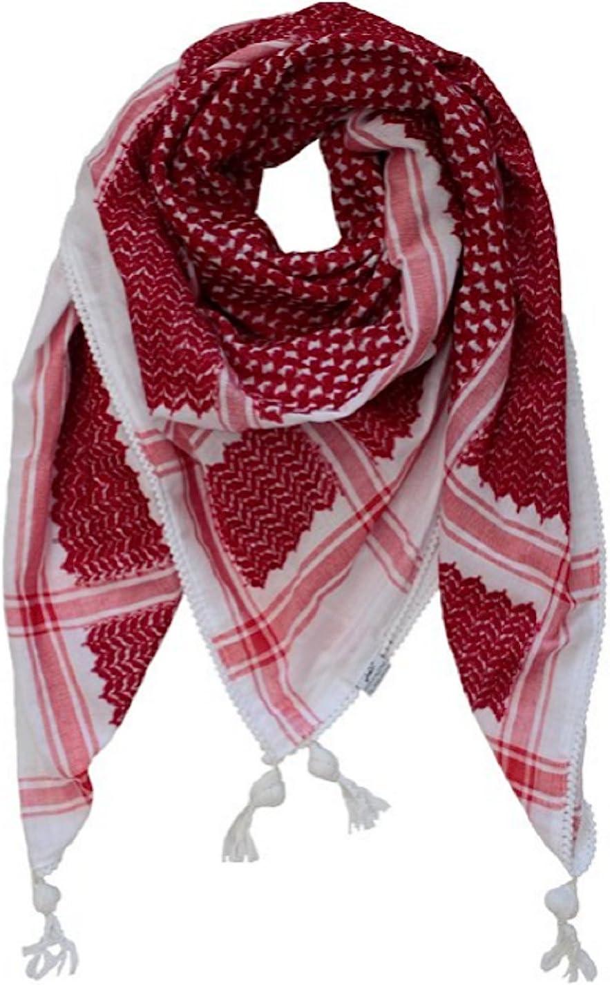 Amazon.com: Bethlehem Gifts TM Red White Arab Shemagh Head Scarf ...