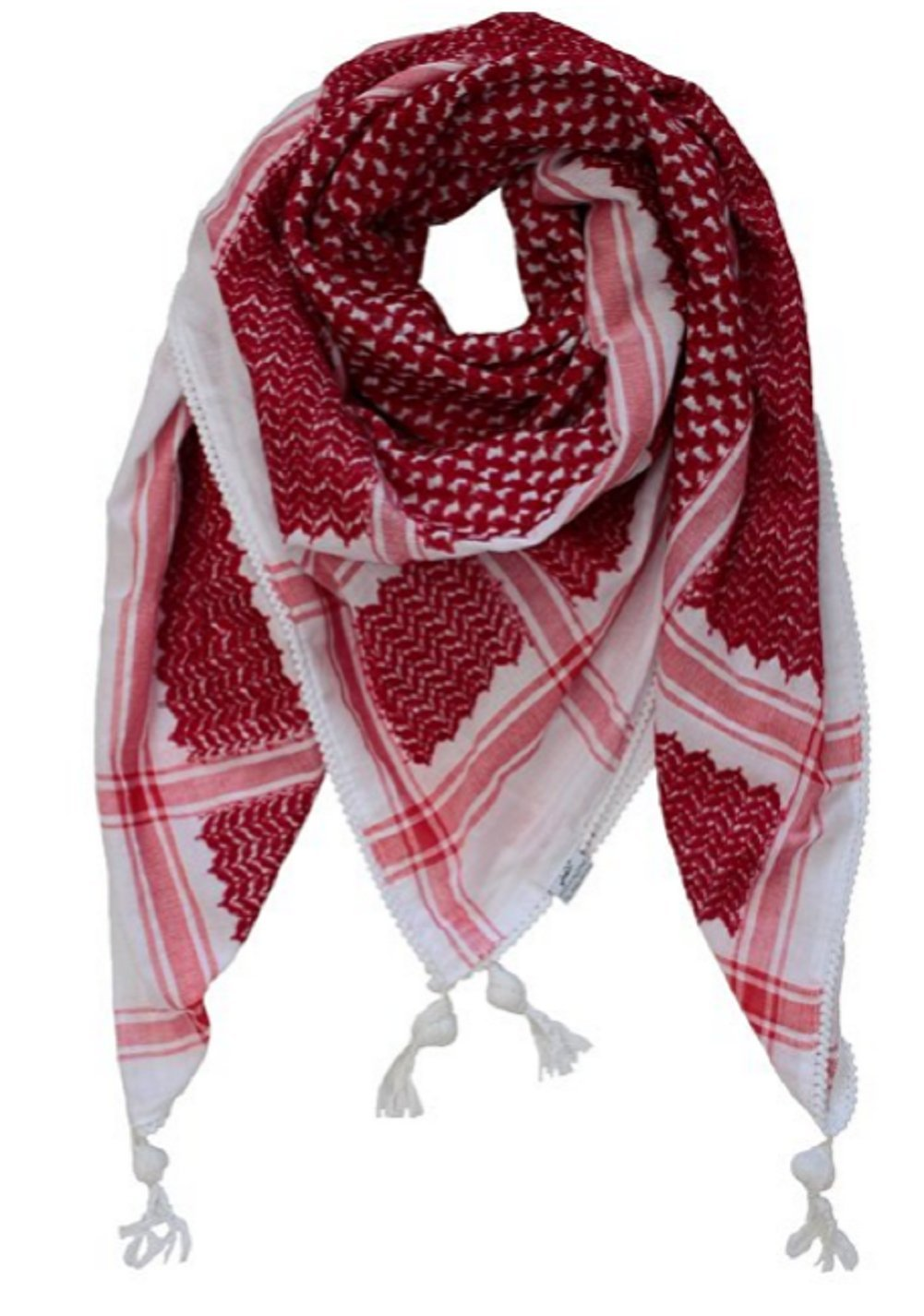 Authentic Large Middle Eastern Shemagh Arab Kafiya Keffiyeh by Bethlehem Gifts TM (Red/White)