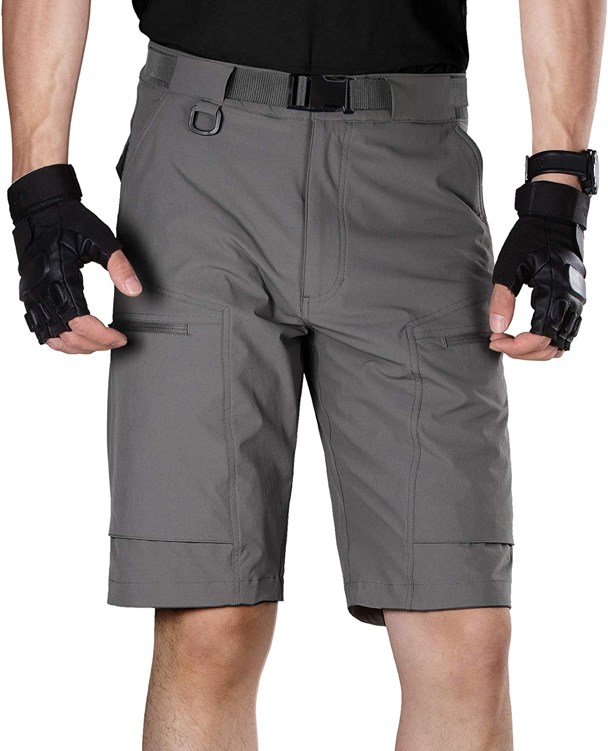 FREE SOLDIER Men's Cargo Shorts with Belt Lightweight Breathable Quick Dry Hiking Tactical Shorts Nylon Spandex