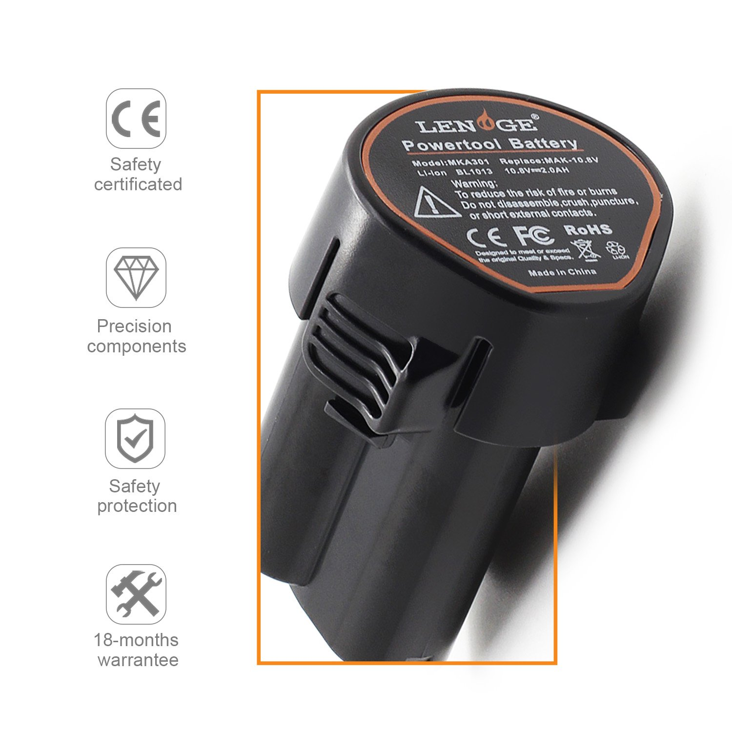 LENOGE Battery 2Ah 10.8V Replacement for Makita BL1013 BL1014 Drill DF030D LCT203W 194550-6 194551-4 FD02W 194550-6 194551-4 18months warranty