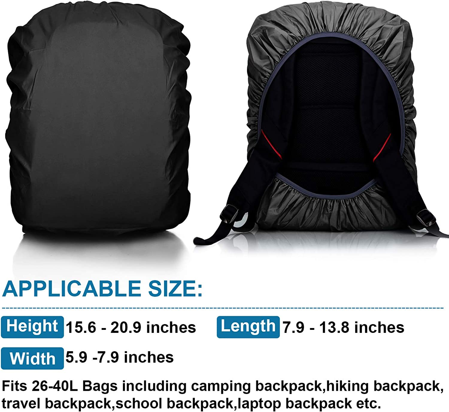 Reflective Backpack Rain Cover JOOPOM Waterproof Rucksack Cover Rainproof Cycle Bag Cover with Adjustable Chest Strap for Camping Hiking Cycling Jogging Traveling Outdoor Activities