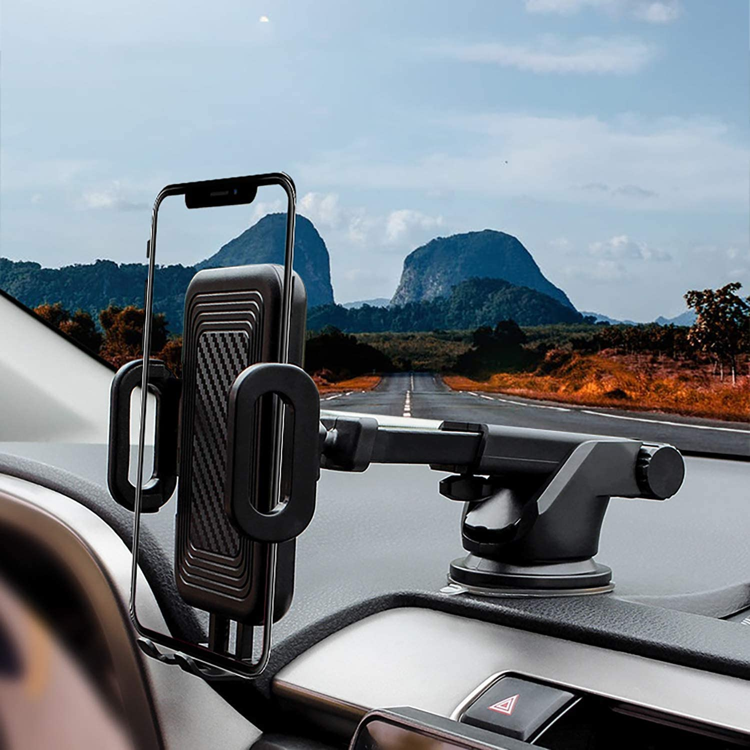 Car Phone Mount NICEKEY Cell Phone Holder for Car Dashboard Windshield Universal Cell Phone Mount with Strong Sticky Suction Cup Compatible for iPhone 11 Pro X 8 7 6S 6 Samsung Galaxy Smartphone