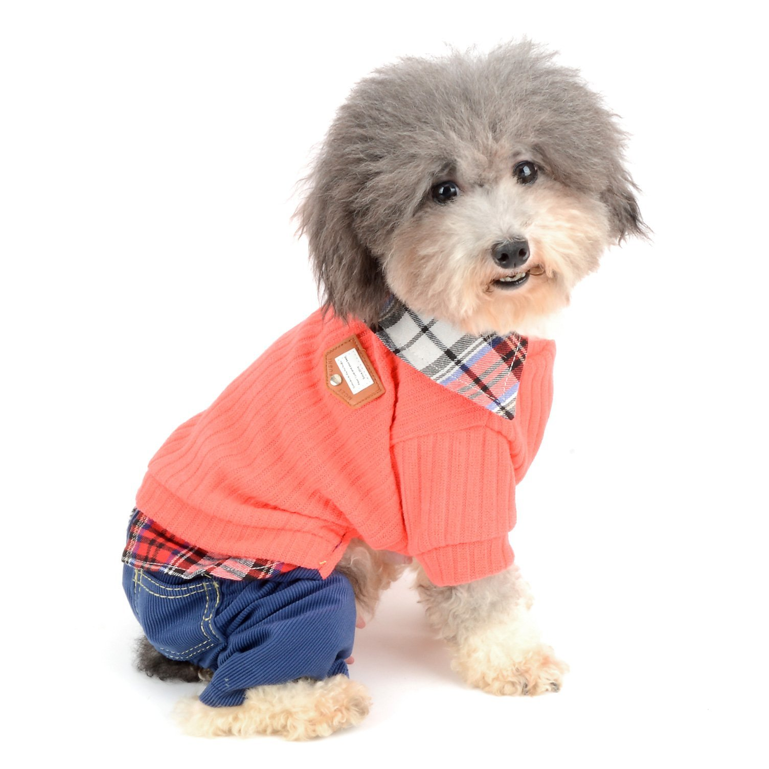 Ranphy Small Dog Sweater with Plaid Shirt Collar, Warm Dog Outfits, Student Style Pet Jumper with Pants, Puppy Knitwear Apparel Girls Boys for Autumn Winter Pink Size XL
