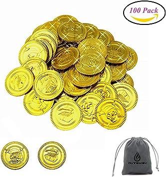 QUTAWAYLA 100 Piezas Monedas Pirata Monedas de Oro plástico ...