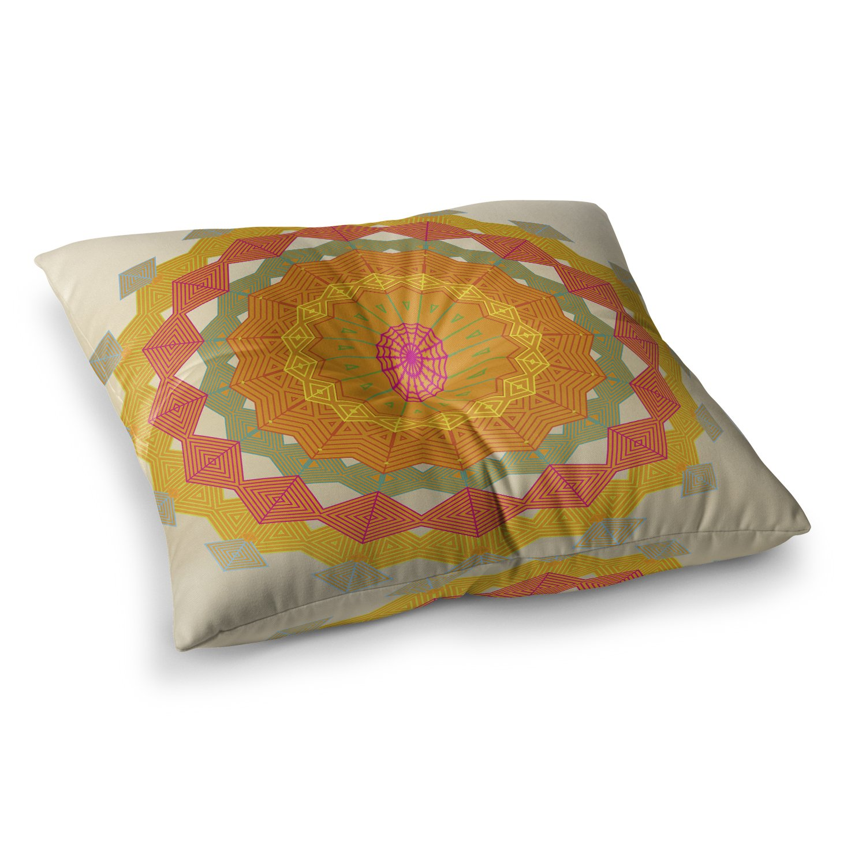Kess InHouse Angelo Cerantola Composition Orange Beige 26 x 26 Square Floor Pillow