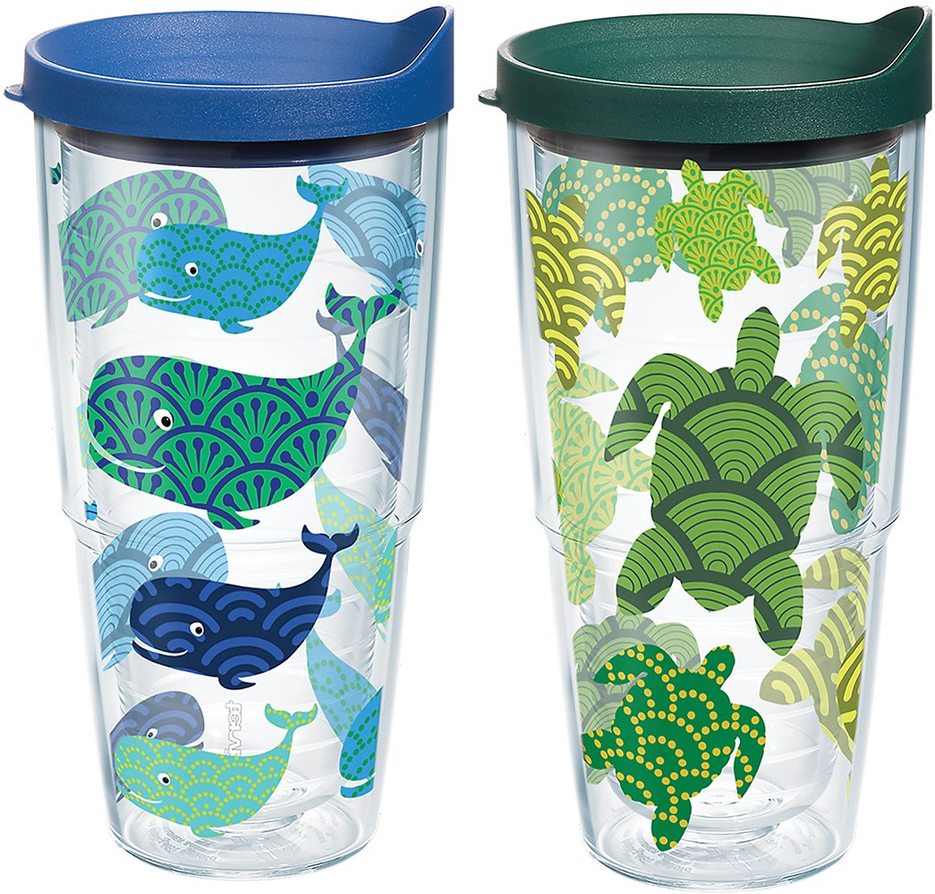 Tervis Turtle Whale Pattern Wrap Clear Inner 24oz Tumbler 2 Pack with No Lid - 1224494