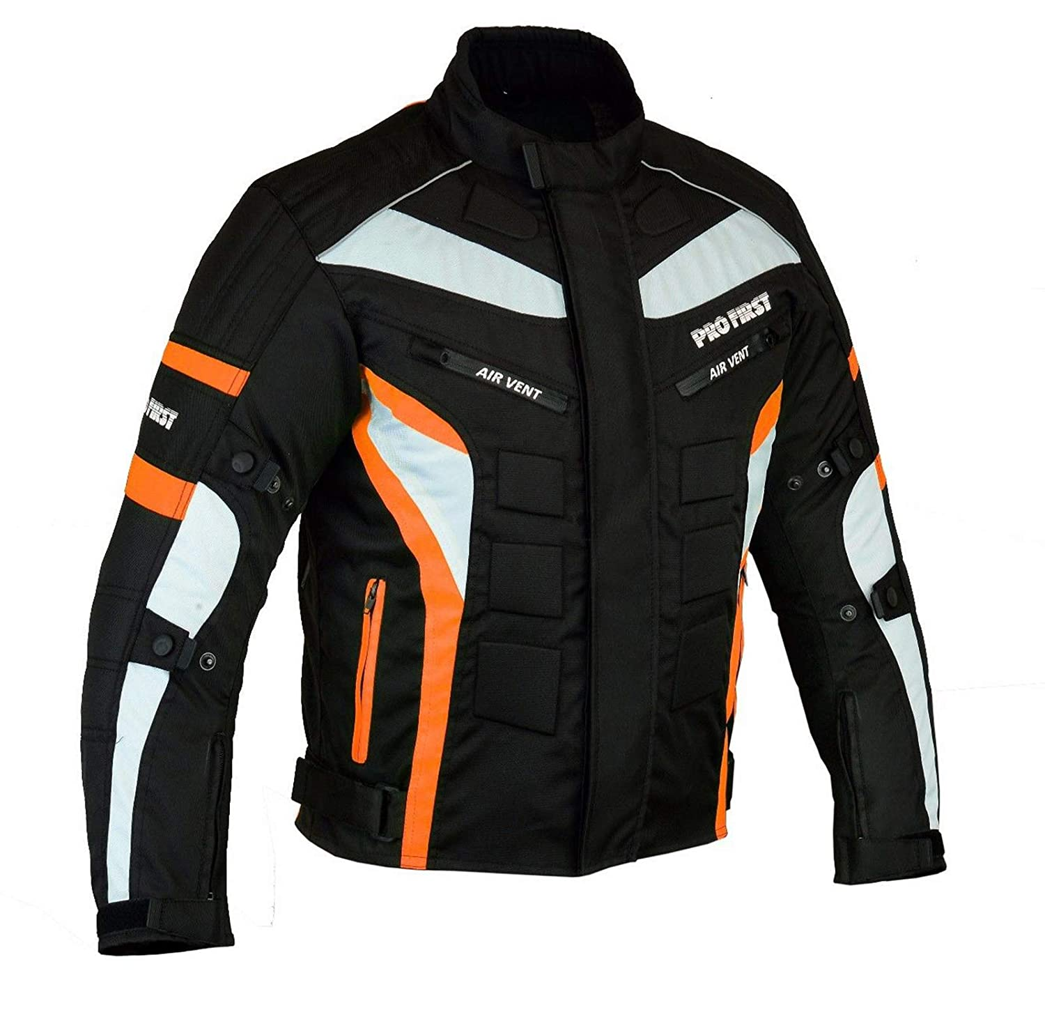 Black /& Orange, X-Large Waterproof Motorbike Motorcycle Jacket in Cordura Fabric and CE Approved Armour 6 Packs Design Most Popular