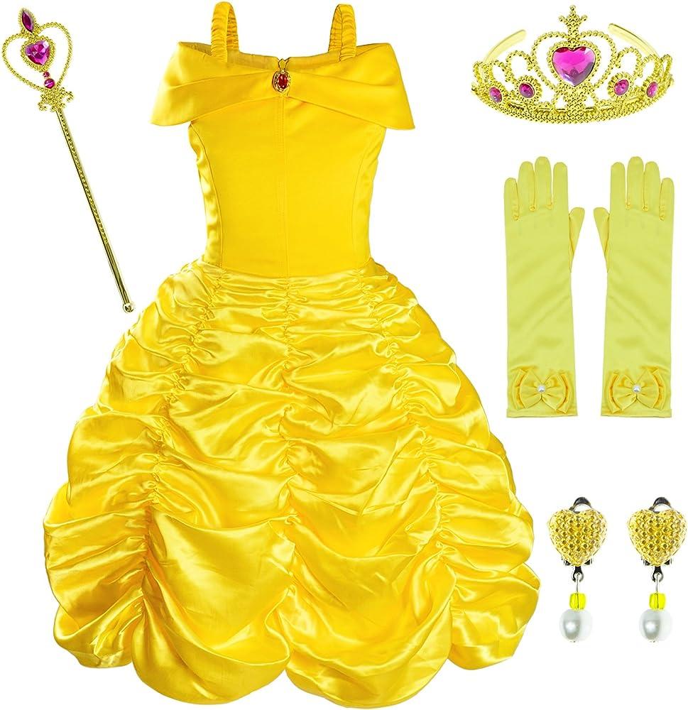 Belle Princess Girls Dress Costume Party Dress Cosplay Sequins Sleeveless Dress