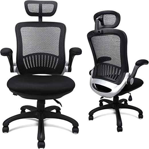 Amazon Com Ergonomic Home Office Desk Chair With Flip Up Arms Mesh High Back Lumbar Support Headrest Neck Support Rolling Chair Executive Task Chair Thick Cushion Seat Computer Desk Drafting Chair With Wheels Furniture