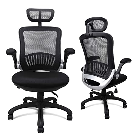 Office Chairs, Komene Ergonomic Mesh Desk Chairs High Back Computer Task Chairs with Adjustable Backrest, Headrest, Armrest and Seat Height for Conference Room