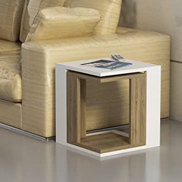 Swell Decorotika Cole 2 Piece Accent Sofa Table Set Side End Table White And Walnut Color Pabps2019 Chair Design Images Pabps2019Com
