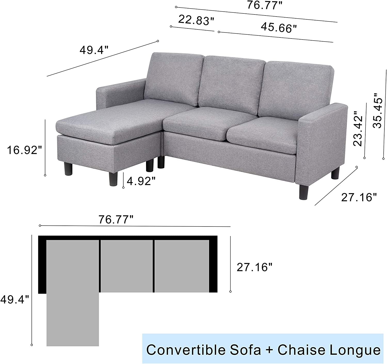 Amazon.com: JY QAQA sofá seccional convertible chaise longue ...
