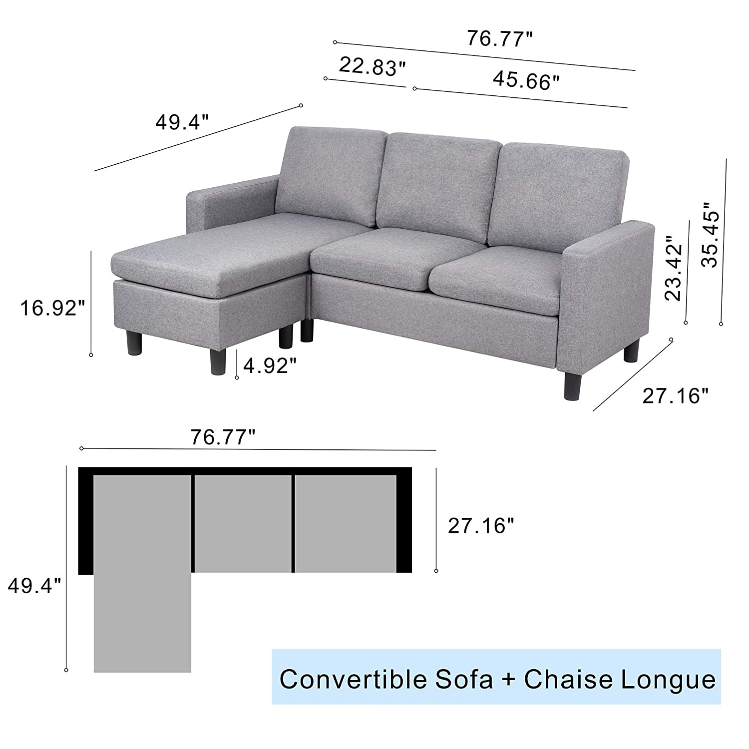 Amazon.com: JY QAQA Sectional Sofa Couch Convertible Chaise ...