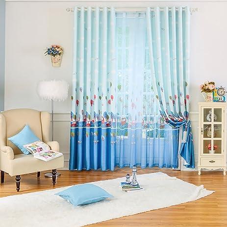 Cartoon Window Curtains For Children BedroomBlackout Blue Baby Kid Drapes PanelPrinting Boy