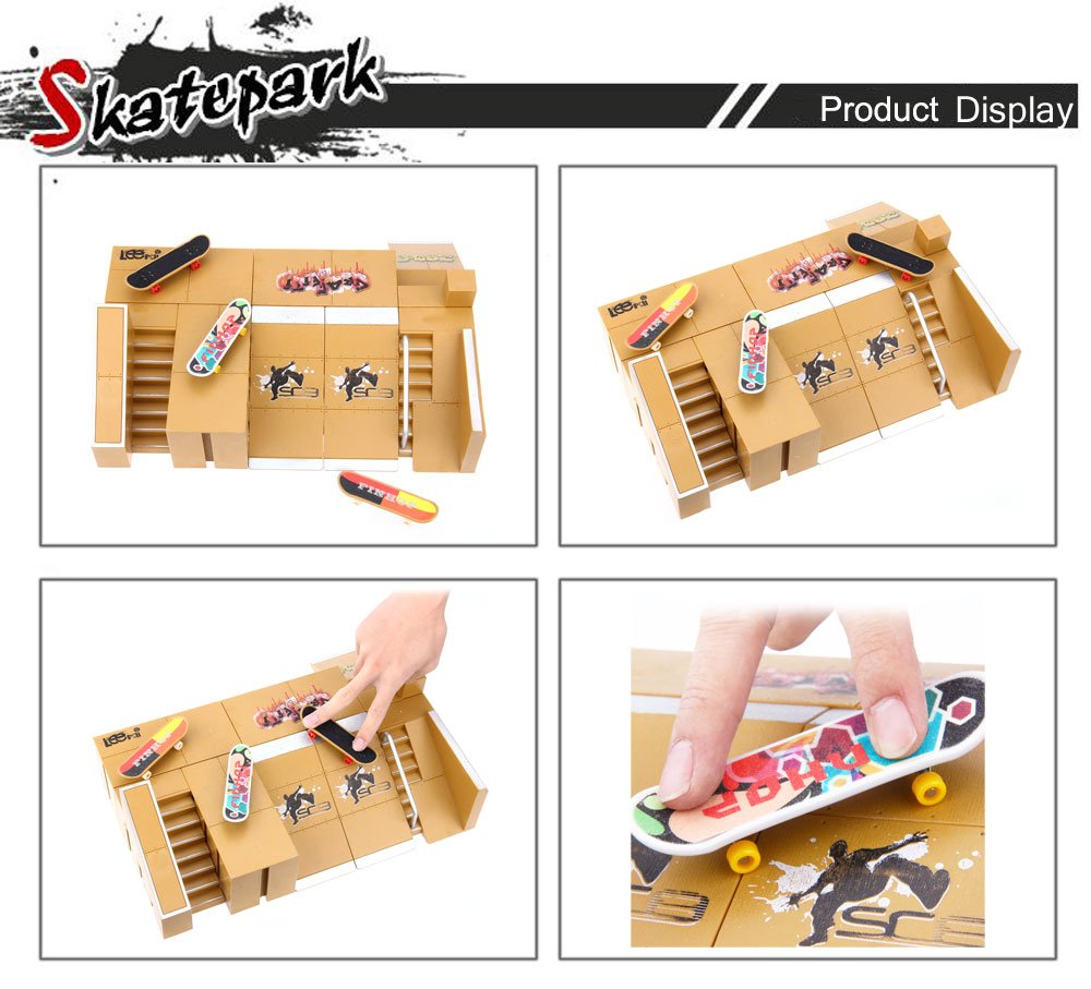 BISOZER Finger Board Skate Park Kit, 8PCS Mini Games Skate Park Kit Ramp Parts for Tech Deck Finger Skateboard Ultimate Parks Training Props by BISOZER-Toy (Image #6)