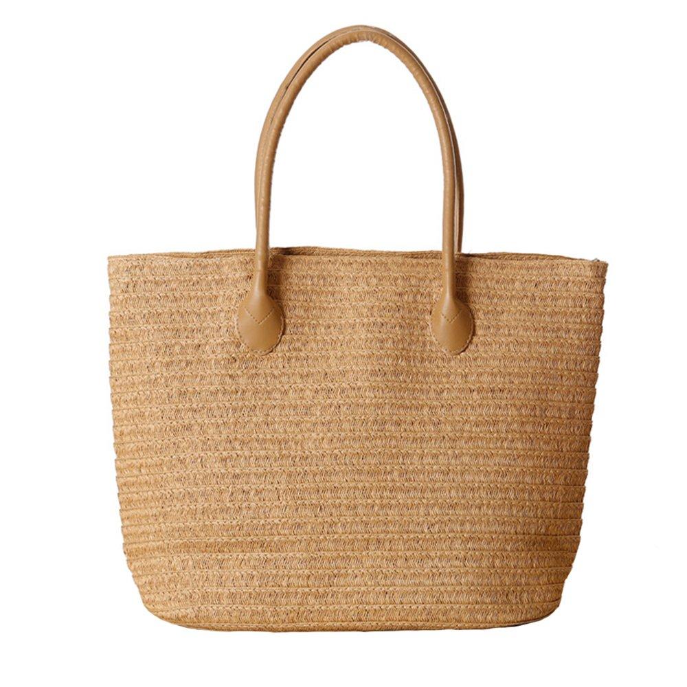 Women's Classic Straw Summer Beach Shoulder Bag Handbag Tote With PU Leather Straps Handmade Purse
