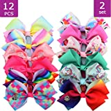 18pcs Hair Bows Clips for Girls - 5 Inches Alligator Clips for Girls Large Bow Unicorn Rainbow Grosgrain Ribbon Hair…