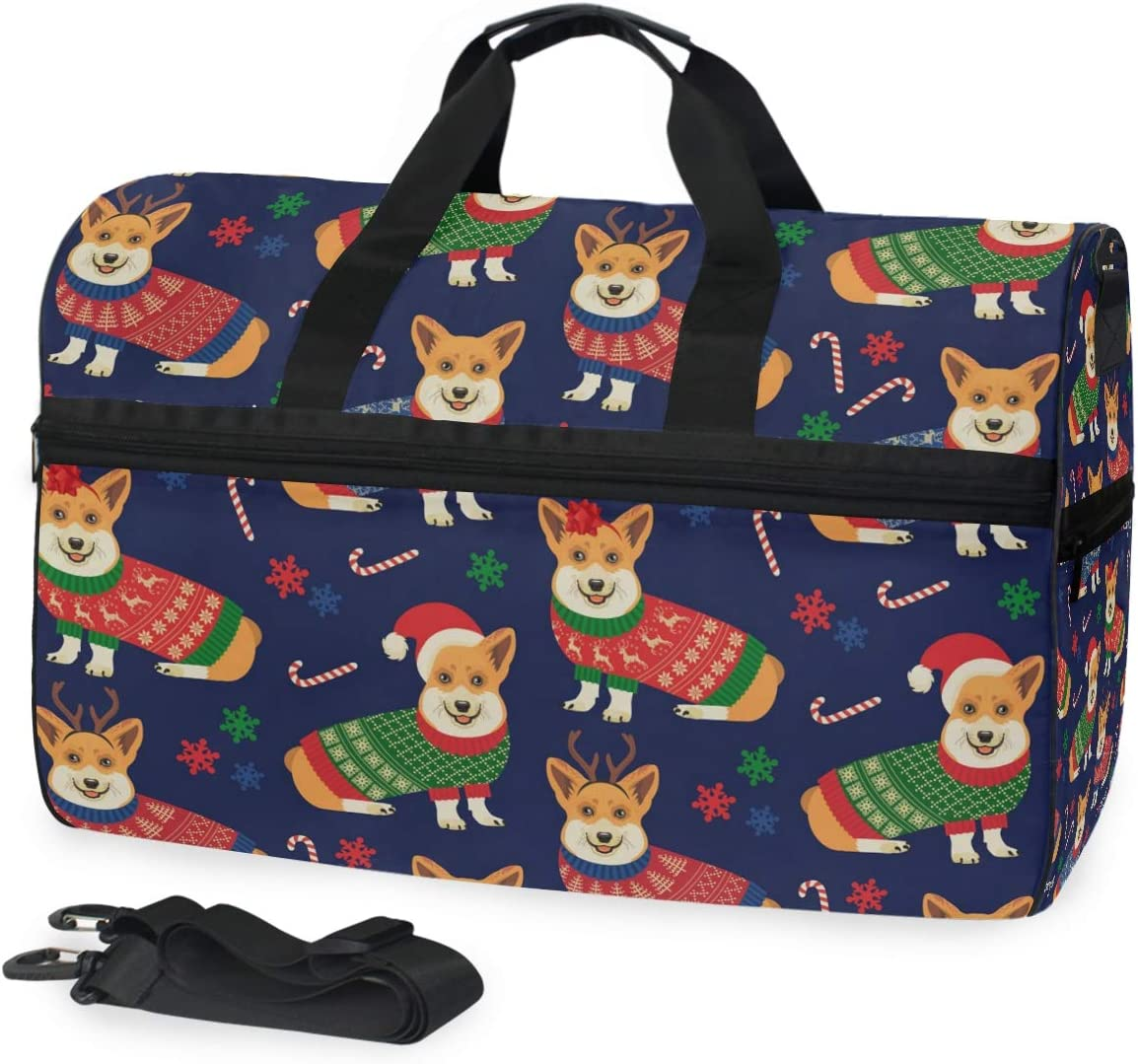 Corgis Dogs Sports Gym Bag with Shoes Compartment Travel Duffel Bag for Men and Women