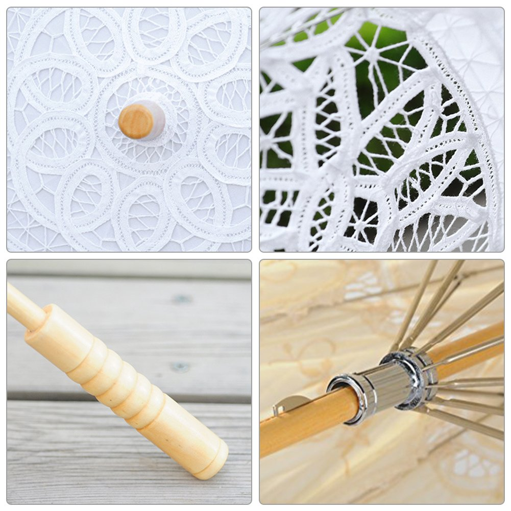 Lace Embroidery Wedding Umbrella Wooden Handle for Wedding Decoration(W) by Johlycao (Image #4)