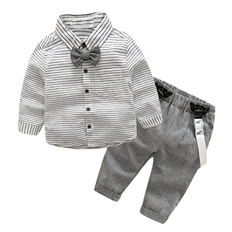 domybest 2 pcs bebé infantil Toddler niños señorías lazo camiseta Suspender Pantalones Traje Talla:For
