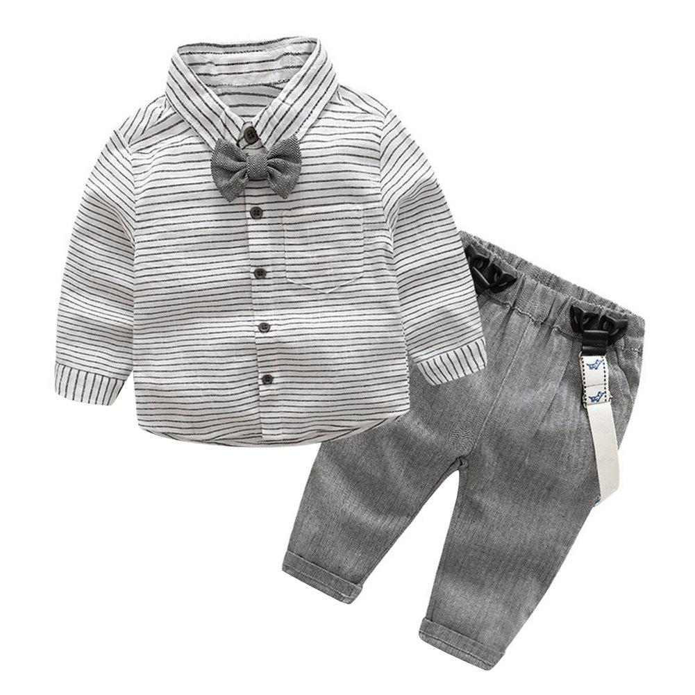 Domybest Baby Jungen Kleinkind Gentlemen leinen Langarm Hemd + Hosenträger Hose Ausstattung Bowknot Shirt Suspender Pants Outfit